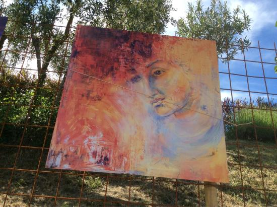 Fayence, France : Sculptures  in the garden, special the glas painting with the roses