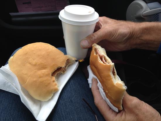 Carlsburger: Sausage and bacon baps - yum!