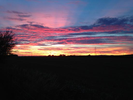 Coldstream, UK: Sun set over Butterlaw