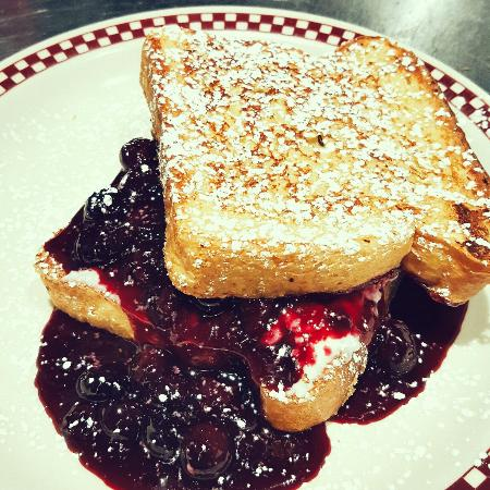 Pittsfield, MA: Stuffed French toast with blueberry compote, & s'mores pancakes!