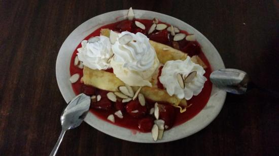 Del Valle, TX: You must get the crepes for dessert. They come with Homemade Vanilla from Blue Bell!!! Definitel