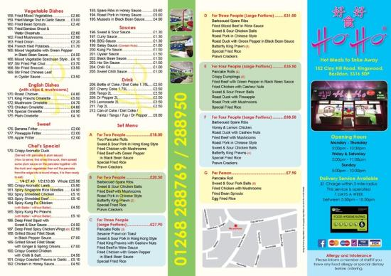 Basildon, UK: Ho Ho menu