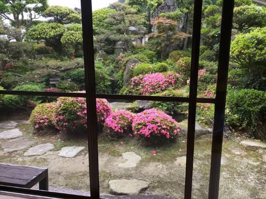 Sobadokoro Hidemine: 庭を眺めながらそばをいただく