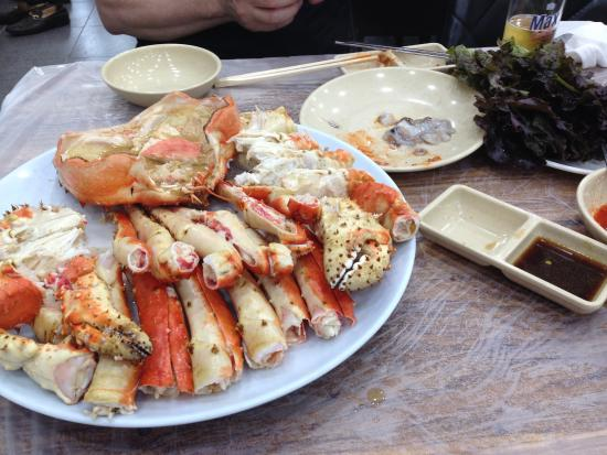 King Crab Steamed And Cut Up For Us To Eat Picture Of Noryangjin