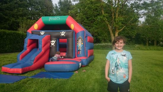 Appleby Magna, UK: Bank holiday bouncy castle fun
