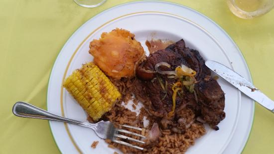 Breezes Resort & Spa Bahamas - All-Inclusive: Jerk pork chop. Forgot to take a before picture.