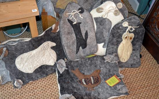 Chagford, UK: Tuffets and hot water bottle covers from Bellacouche
