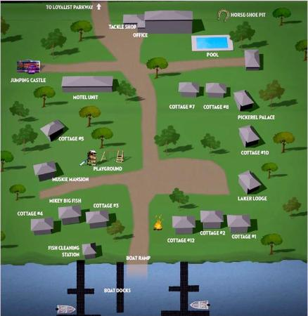 Merland Park Cottages: Resort map as seen on website