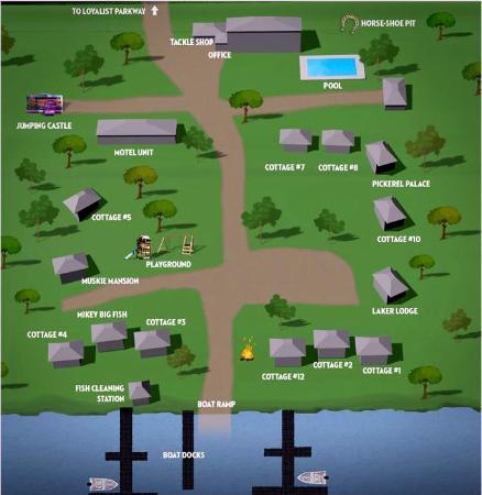 Merland Park Cottages: Resort map as seen on website