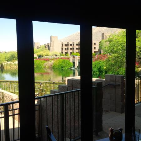 View of the main hotel from inside the Flying V restaurant.