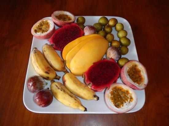 Magic Reef Bungalows: Our breakfast fruit platter... delicious!