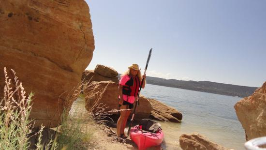 Navajo Dam, NM: Only in a kayak can you find your own little beach on Navajo Lake!