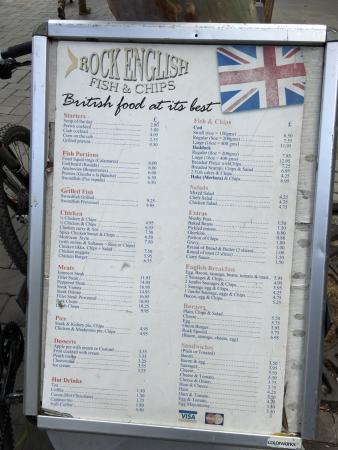 Sidewalk menu.