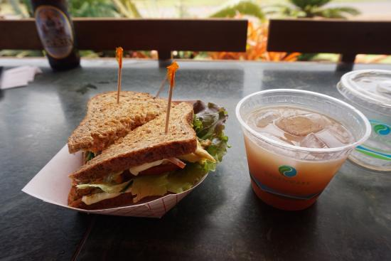 Anahola, HI: sugercane juice and a vegeterian sandwich, costing $12