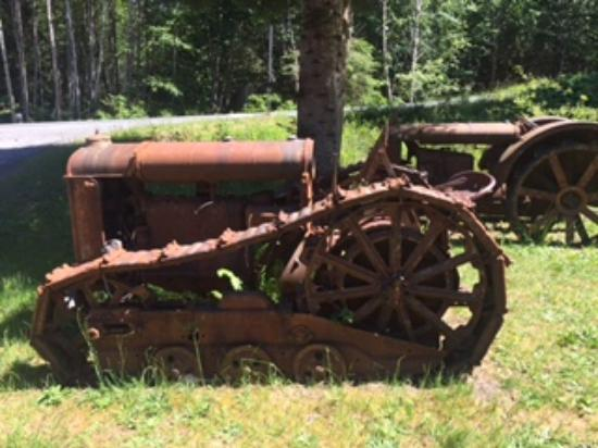 Old retired Fordson cat, The Cable Cook House Cafe, Sayward, BC