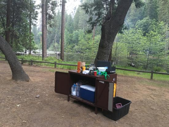 Lower Pines Campground: got new larger bear boxes, tall ice chests n all gear fit inside.