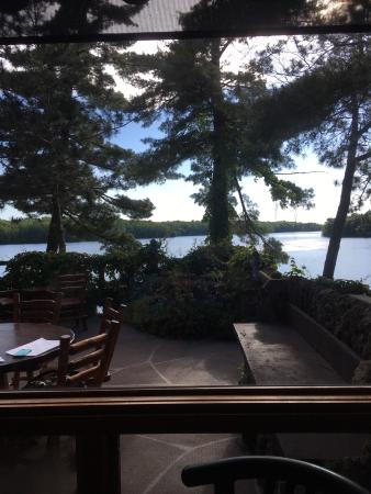 Cable, WI: The bar and the view of Lake Namakagon