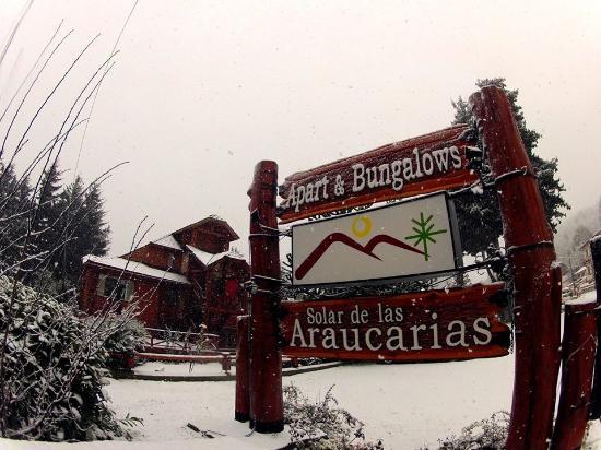 Bungalows Solar de las Araucarias: Cartel artesanal en puro cipres