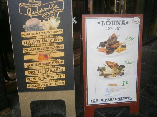 """Cubanita Live Cafe: """"Dagens billiga maträtter"""" med mera !"""
