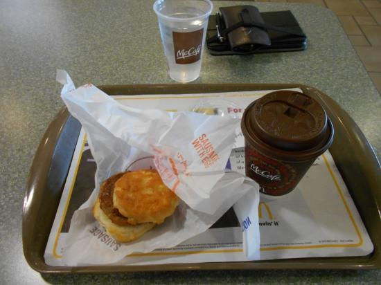 Coloma, MI: Sausage biscuit and coffee