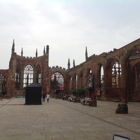 Coventry, UK: Inside cathedral shell, floor raised because rubble buried within and paved over!