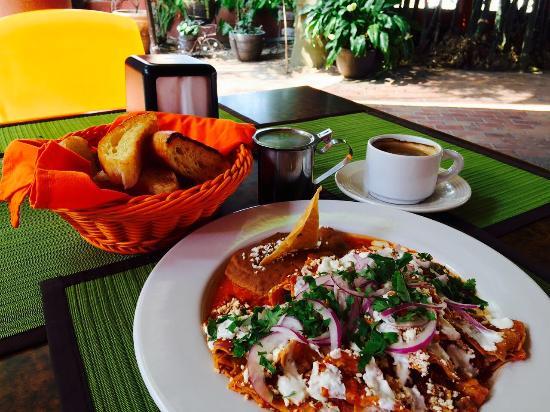 Lukumbe: chilaquiles naturales rojos para desayunar en restaurant café lukumbé puerto vallarta