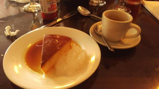 Rumba Cuban Cafe Yum Flan With Sweetened Shaved Coconut And A Cortadito