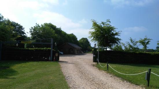 Weston, UK: View from car park and outdoor seating area towards the golf course