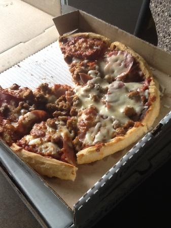 Canadian 2 For 1 Pizza : This is the pizza I received not sure why it only has cheese in some spots
