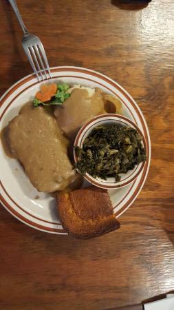 Meatloaf, mashed potatoes, collards, corn bread