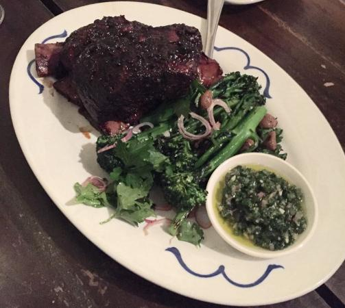 East Fremantle, Australia: Stout & green peppercorn beef rib, broccolini, smoked garlic