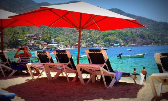 Vallarta By Boat: Yelapa   Beach Chairs Provided By Restaurants
