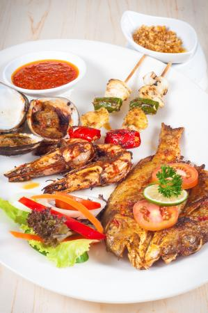 Ketewel, Indonesia: Fresh Grilled Seafoods at Blacksands Coffee Bar near Bali Safari marine Park