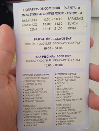 Migjorn Gran, Spanien: Dining Times and Reception Services