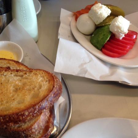 Allpress Espresso: salmon plate: salmon, avo,boiled egg, pickles , fresh feta, tomatoe & toast