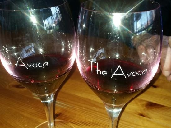Enjoying a glass of local wine at The Avoca