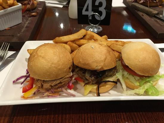 Central Hotel Bistro: Trio of burgers and a pulled pork burger