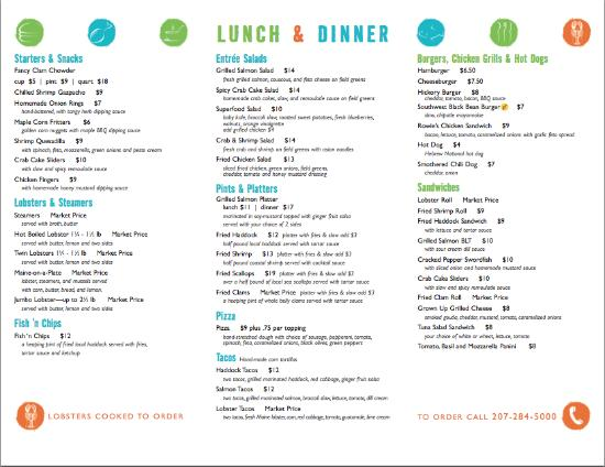 Biddeford Pool, เมน: 2016 Menu