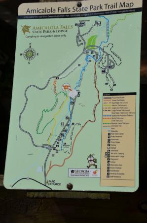 Dawsonville, Gürcistan: Useful Map of the Park and the 3 paths to the base of the falls