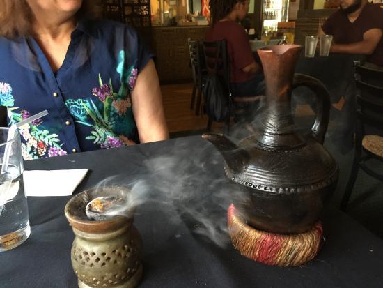 Blue Nile Cafe: Coffee Roasting Ceremony, refreshing Ginger and Mango juices, Veggie assortment, Shrimp Tibs