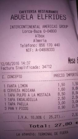 Restaurante Abuela Elfrides: Ticket