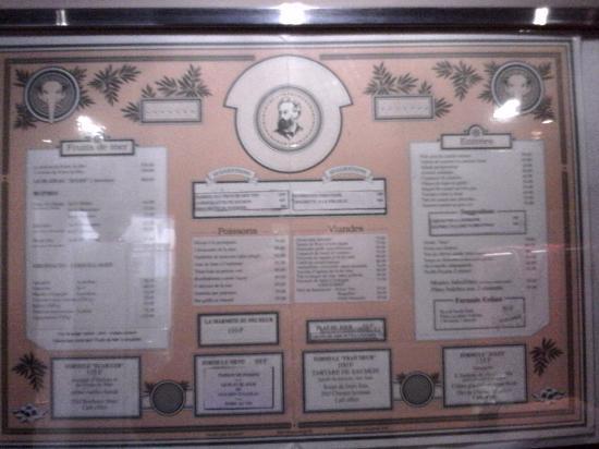 Brasserie Jules: La première carte du restaurant date de plus de 20 ans , en francs.