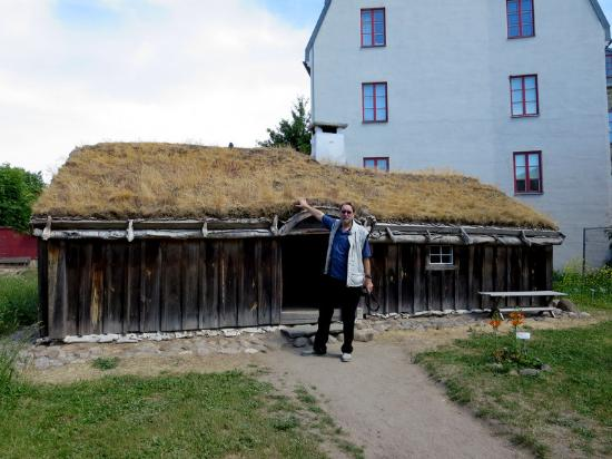 "Lund, Sweden: My husband (6'3"") shows just how small the sharecropper's house at Kulturen is."