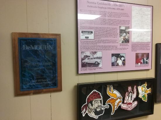 Greenville, IL: exhibit on Norma Goldsmith, factory employee and herself a collector of DeMoulin history