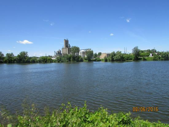 Randall Wickes Children's Playground: Old Town Saginaw across the Saginaw River