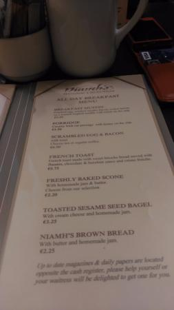 Niamhs Restaurant and Delicatessen: menu