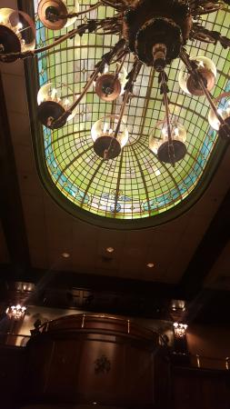 Morristown, NJ: Glass ceiling and chandelier in dining room