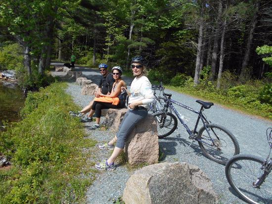 Acadia Bike: A break along the way to admire the scenery