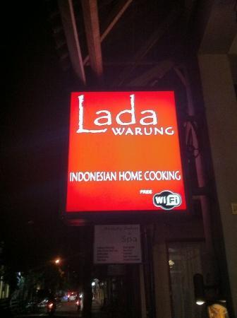 Warung Lada sign at night
