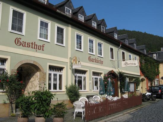 Leutenberg, Germania: Hotel met terras.